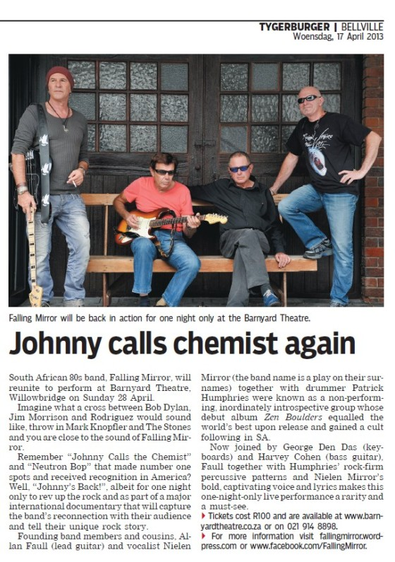 Johnny Calls Chemist Again | TygerBurger 17 April 2013